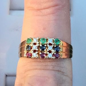 EMERALD,RUBY,SAPPHIRES AND DIAMOND 14 KT GOLD RING